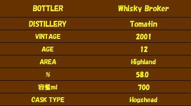 ウイスキーブローカー Whisky Broker / トマーチン 2001(詳細)